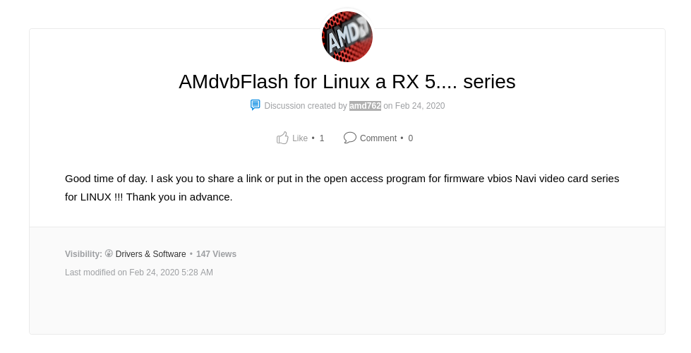 Screenshot of AMD forum, showing a question without answer