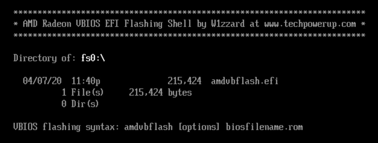 Screenshot of AMDVBFlash running in UEFI shell